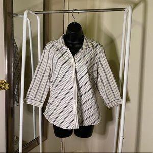 COVINGTON Stripe Print Button Up Dress Shirt